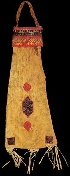 antique nomads bag, leather, silk embroidery.. Karakalpak, Central Asia,