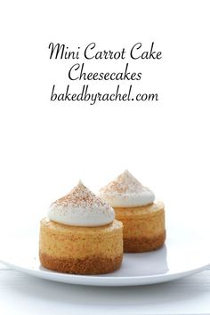 No-bake mini carrot cake cheesecakes with cream cheese frosting recipe from @bakedbyrachel