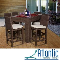 "Atlantic Olivia 7-piece Wicker Bar Set (55 L x 75"" W x 39"" H Dark Brown), Size 7-Piece Sets, Patio Furniture (Aluminum)"