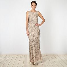 Debut Natural embellished chiffon maxi dress- at Debenhams.com