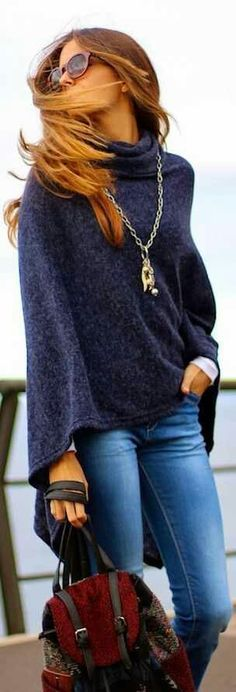 Love the color and style of this sweater and the necklace.