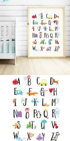I would love to get this Alphabet wall art for my baby's nursery. Alphabet Print, Alphabet Nursery Wall Art, Alphabet Poster ABC Wall Art Kids Room Decor Animal Nursery Decor Kids Wall Art Printable ABC Art #nurserydecorideas #ad