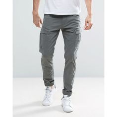 Esprit Cargo Trouser in Slim Fit (245 ILS) ❤ liked on Polyvore featuring men's fashion, men's clothing, men's pants, men's casual pants, grey, mens grey cargo pants, mens slim cargo pants, mens grey dress pants, mens slim fit pants and mens cargo pants