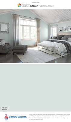 I found this color with ColorSnap® Visualizer for iPhone by Sherwin-Williams: Topsail (SW 6217).
