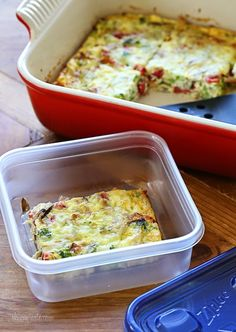 Sausage, Cheese and Veggie Egg Bake – perfect breakfast to feed a crowd and leftovers can be frozen.