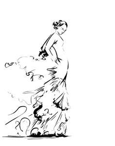 Flamenco Dancer Ink Drawing Art Print, Dance Art, Black and White Modern Drawing Art
