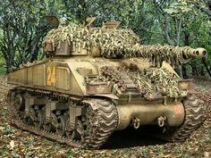 Sherman tank camoed.