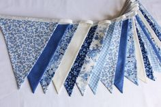 Floral blue bunting for hire, white and cream fabric flags, blue wedding decor, marquee decoration, wedding party Felt Bunting, Blue Bunting, Rainbow Bunting, Bunting Flags, Diy Bunting, Bunting Ideas, Painted Bunting, Bunting Template, Bunting Pattern