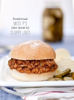 My Mom's Sloppy Joes are the best! Especially with potato chips and pickles #recipe on foodiecrush.com #sandwich #sloppyjoe