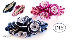 ЗАКОЛКА-АВТОМАТ КАНЗАШИ, МК / DIYKanzashi Flower Hairclip / Kanzashi Tut...