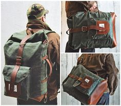 The Nomad Backpack II is a hand waxed canvas and leather roll top bag. Expandible, water resistant, ideal for school, work, commute, travel or camping.  If you were looking for the ideal pack that can keep up with you with all your activities, Nomad is your choice. Its expandable design allows it to be as big or as small as you wish. Light and confortable, its base and straps are genuine leather and the exterior is made of hand waxed 100% cotton canvas fabric. All our materials are high…