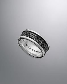 His wedding band! Thought i'd never find a band with black diamonds that didn't look cheap... Streamline Band Ring, Black Diamonds by David Yurman at Neiman Marcus.