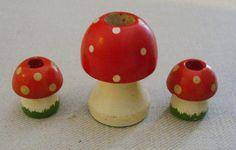 3 Vintage Wooden Mushroom Candle Holders Painted