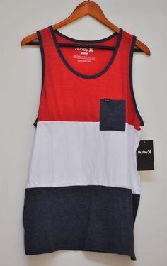 Hurley Colorblock Pocket Tee Shirt Red White Blue Sleeveless Round Neck  Size M  4daa2b4e0cb