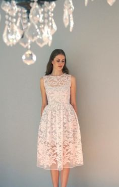 Two pieces tea length organza dress with separate cotton lining
