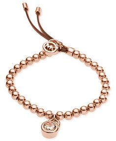 Michael Kors Rose Gold-Tone Crystal Beaded Leather Bracelet - Only @ Macy's!