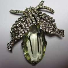 Gorgeous Sterling Eisenberg Original Fur Clip with Huge Crystal