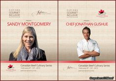 Canadian Beef Culinary Series February 2015 featuring Canadian Chef Jonathan Gushue #experienceCDNbeef February 2015, Hotels, Beef, Cards, Gourmet, Meat, Maps, Playing Cards, Steak