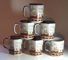 Brown Ship Vintage Mugs