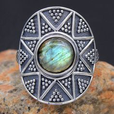 Bali style - Natural Labradorite 925 Sterling Silver Hand Made Ring Jewelry US 9 #Unbranded #Ring #valentinesday