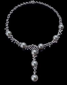Grey Pearls and Diamonds Necklace