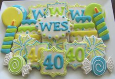 Items similar to One Dozen Birthday Custom Decorated Sugar Cookies on Etsy Super Cookies, Fancy Cookies, Making Cookies, Iced Sugar Cookies, Royal Icing Cookies, Cupcakes, Cupcake Cookies, Birthday Cookies, 40th Birthday