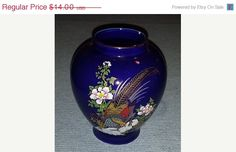 ON SALE Vintage Kutani Style Cobalt Blue Vase  Gilded Pheasant  Birds  Flowers with Gold Trim by junkyardblonde. Explore more products on http://junkyardblonde.etsy.com