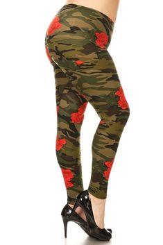 Plus Size Rose Camo Print Stretchy Leggings
