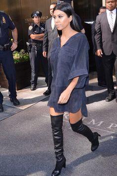 Kourtney Kardashian wearing Stuart Weitzman Highland Boots
