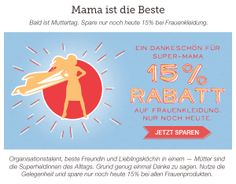 Bald ist Muttertag, spare nur noch heute 15% auf Frauenkleidung! Gutscheincode: HERZDAME Jetzt gestalten auf http://www.t-shirt-mit-druck.de/muttertagssgeschenk-selbst-gestalten.htm
