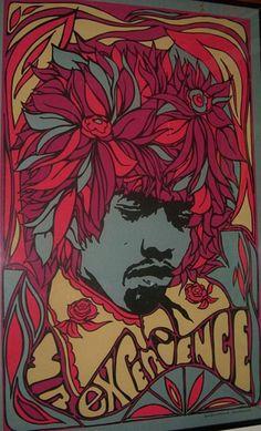 Vintage original Jimi Hendrix black light poster from 1968 silkscreened by Pandora Productions.