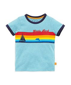 Little Bird by Jools Blue Rainbow T-Shirt. Made from super soft cotton for all day comfort, this T-shirt will look great worn over any separates to create cool, comfy outfits your child will love to wear.