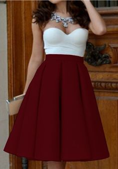 Maroon Plain Pleated Vintage High Waisted Knee Length Skirt