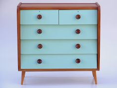 Beautiful Oak chest of drawers with aqua accents (L – 97cm, D – 48cm, H – 96cm)  Set of 4 Oak dining chairs with original vinyl   Retro dis...