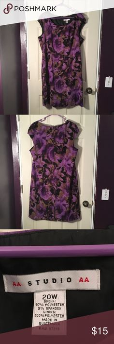 Plus Size Dress Gently used condition. Has capped sleeves and a small slit in the back for ease of movement. Zipper in the back. Purple, green and black Studio AA Dresses Midi