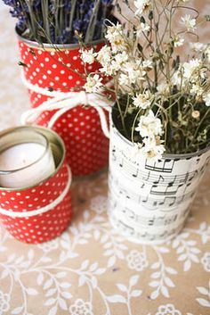 Fabric covered tin cans - mod podge style