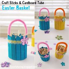 Colorful Easter Basket craft made using wood sticks and cardboard tube. Super quick and easy Easter craft for preschoolers and kindergarten. Art Activities For Kids, Easter Activities, Easy Art Projects, Projects For Kids, Wood Projects, Craft Stick Crafts, Preschool Crafts, Kids Crafts, Kindergarten Crafts