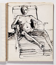 Diebenkorn, pen and ink, Page 061 from Sketchbook # 23 [seated female nude in chaise longue]