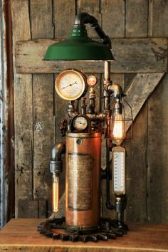 Steampunk Light Industrial Machine Age Steam Gauge Fire Extinguisher Lamp Gear