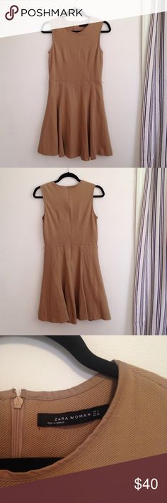 Zara fitted & flare camel dress Zara Woman nude camel career dress // cotton&polyester material // pleather lining // little pilling but not noticeable // small stain at bottom Zara Dresses Midi