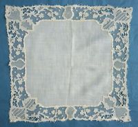 Antique Irish  Carrickmacross lace handkerchief