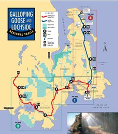 Guide plus map for cycling the Galloping Goose Trail on Vancouver Island: diverse and scenic, with B&B and camping options along the way Bike Trails, Biking, Camping And Hiking, Camping Stuff, Travel Oklahoma, New York Travel, Vancouver Island, Canada Travel, Island Life