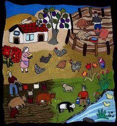 bordados sobre arpillera - Buscar con Google Down South, Textile Art, Fiber Art, Lana, Folk Art, Mexico, Textiles, Kids Rugs, Quilts