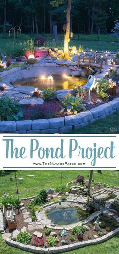 The Pond Project Diy Pond And Backyard Makeover Diy Garden Edging How To Lay Edge Stones How To Edge Garden Beds Tips On Landscaping Small Backyard Landscaping, Ponds Backyard, Koi Ponds, Corner Landscaping Ideas, Patio Pond, Desert Backyard, Outdoor Ponds, Driveway Landscaping, Tropical Landscaping