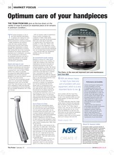 Optimum care of your handpieces, The Probe, January 2015 Care About You, Dental, January, Conditioner, Articles, Dentist Clinic