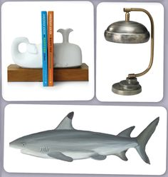 Nautical room accents - love the whale bookends!