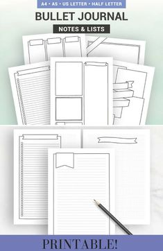 BULLET JOURNAL PAGES - Printable pages - Notes & lists to customize - A5, A4, Us Letter, Half letter #affiliate #bujo #bulletjournal #printable