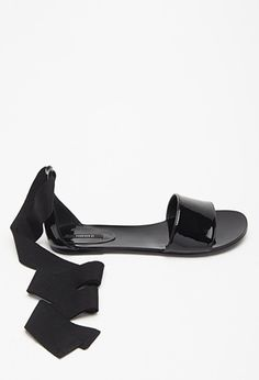 Patent Faux Leather Wrap Sandals | Forever 21 - 2002246967