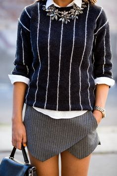 Not really a fan of skorts but love the top half. Would work well with grey pinstripe trousers.