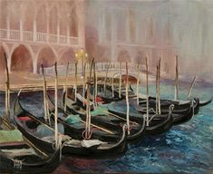 YARY DLUHOS Venice Italy Canal Gondolas Boats Venezia Fog Original Oil Painting #ContemporaryArt